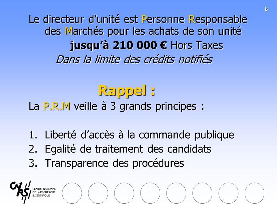 31/03/2017 Le directeur d'unité est Personne Responsable des Marchés pour les achats de son unité. jusqu'à 210 000 € Hors Taxes.