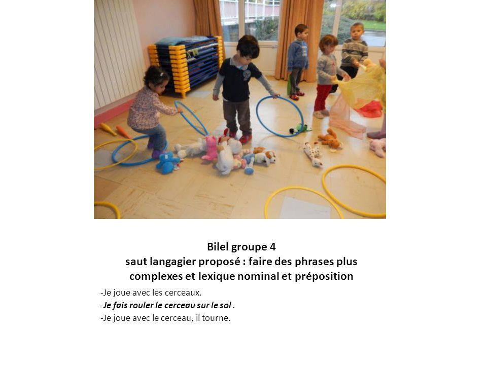 Bilel groupe 4 saut langagier proposé : faire des phrases plus complexes et lexique nominal et préposition