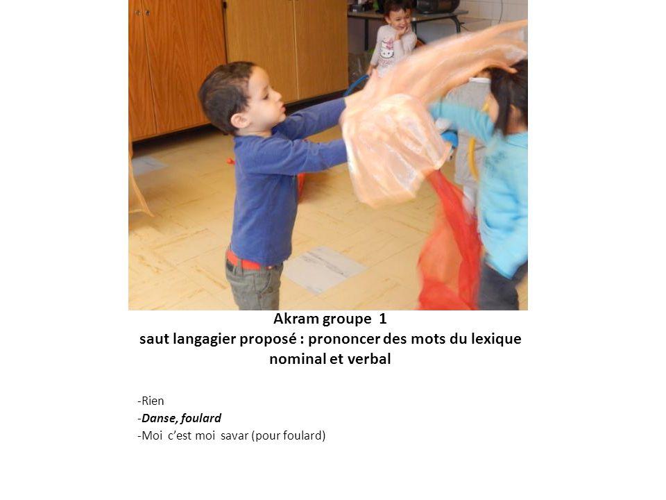 Akram groupe 1 saut langagier proposé : prononcer des mots du lexique nominal et verbal