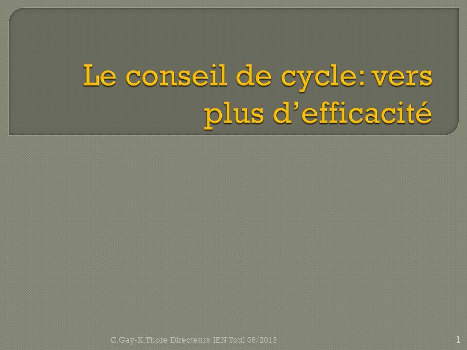 Le conseil de cycle: vers plus d'efficacité