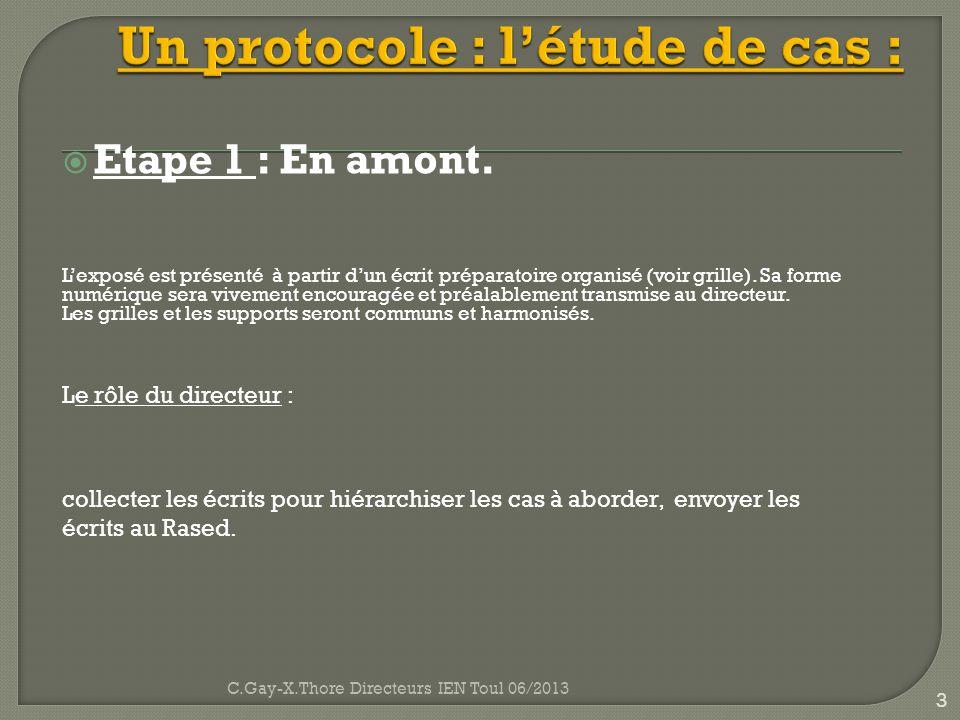 Un protocole : l'étude de cas :