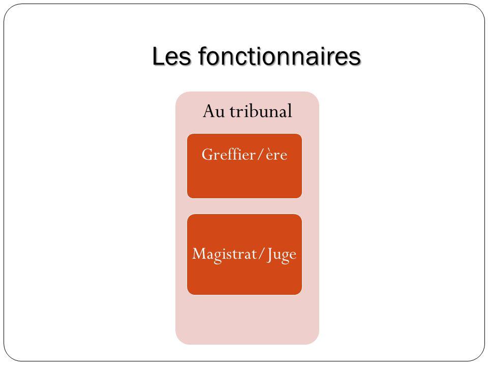 Les fonctionnaires Au tribunal Greffier/ère Magistrat/Juge