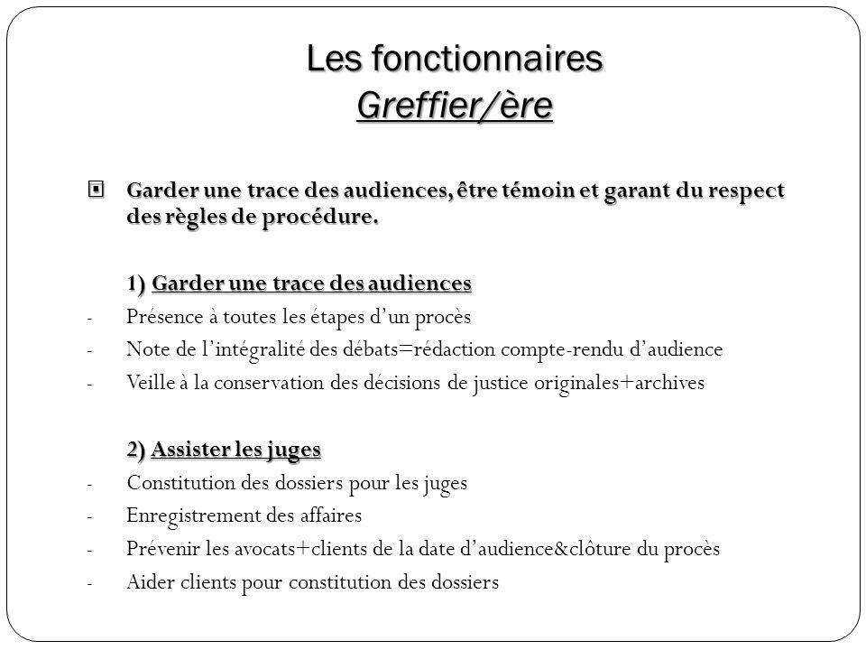 Les fonctionnaires Greffier/ère