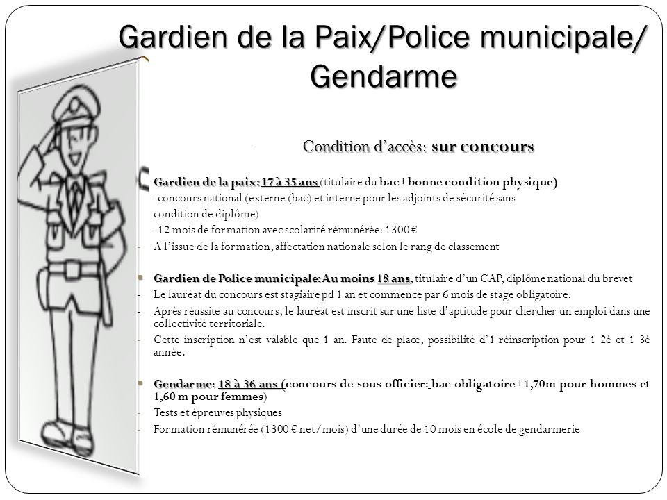 Gardien de la Paix/Police municipale/ Gendarme