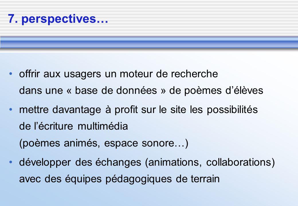 7. perspectives… offrir aux usagers un moteur de recherche dans une « base de données » de poèmes d'élèves.