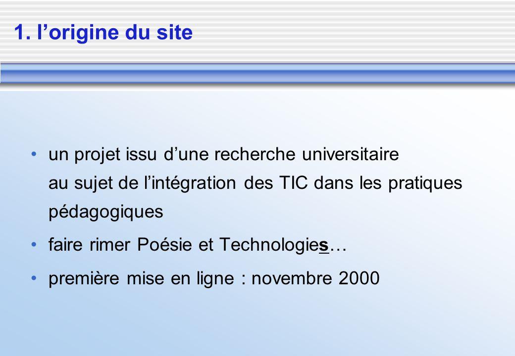 1. l'origine du site un projet issu d'une recherche universitaire au sujet de l'intégration des TIC dans les pratiques pédagogiques.