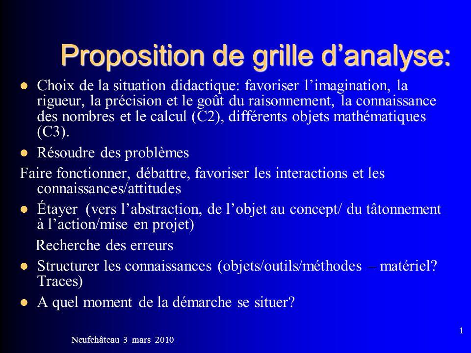 Proposition de grille d'analyse:
