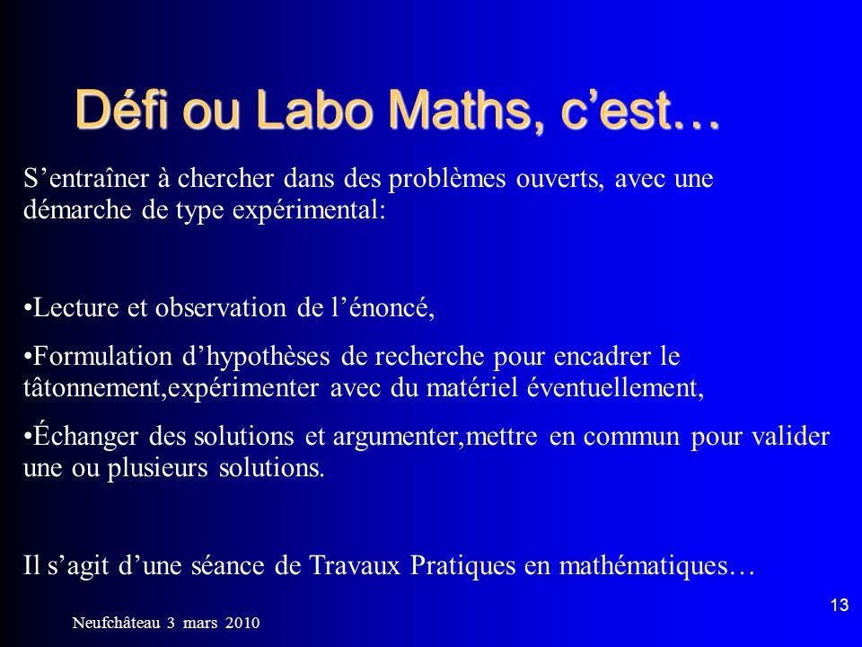 Défi ou Labo Maths, c'est…