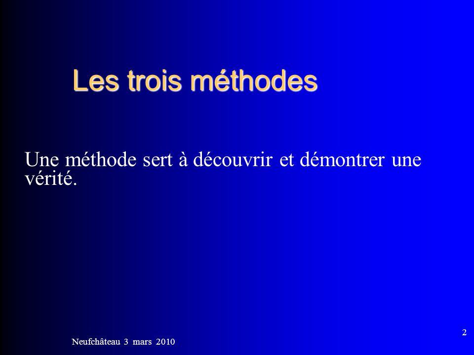 Les trois méthodes Une méthode sert à découvrir et démontrer une vérité. Neufchâteau 3 mars 2010
