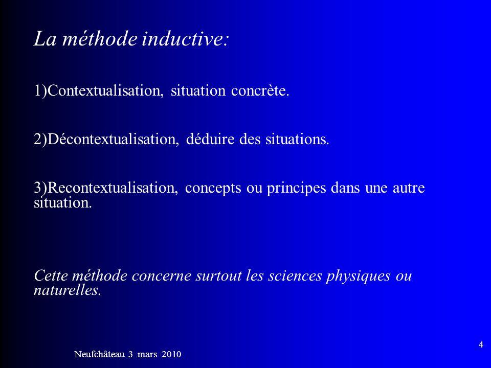 La méthode inductive: 1)Contextualisation, situation concrète.
