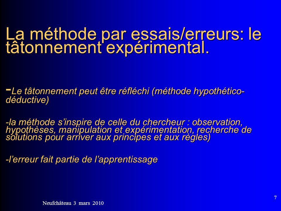 La méthode par essais/erreurs: le tâtonnement expérimental
