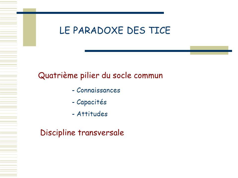 LE PARADOXE DES TICE Quatrième pilier du socle commun