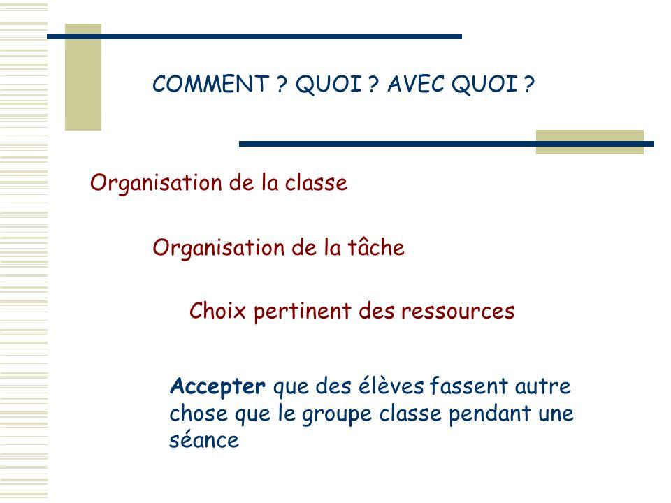 COMMENT QUOI AVEC QUOI Organisation de la classe. Organisation de la tâche. Choix pertinent des ressources.