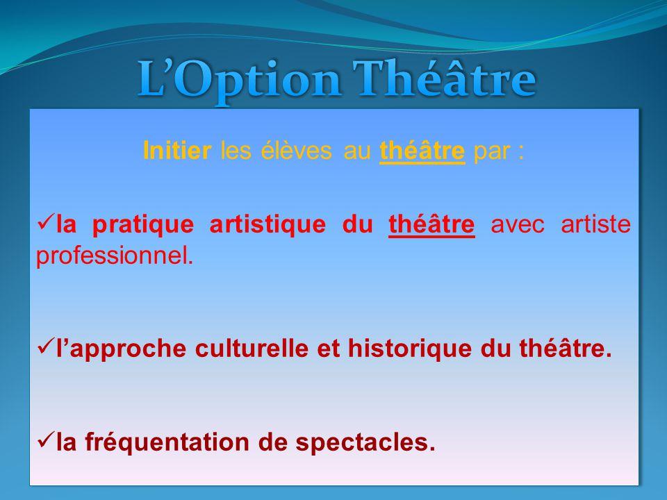 Initier les élèves au théâtre par :