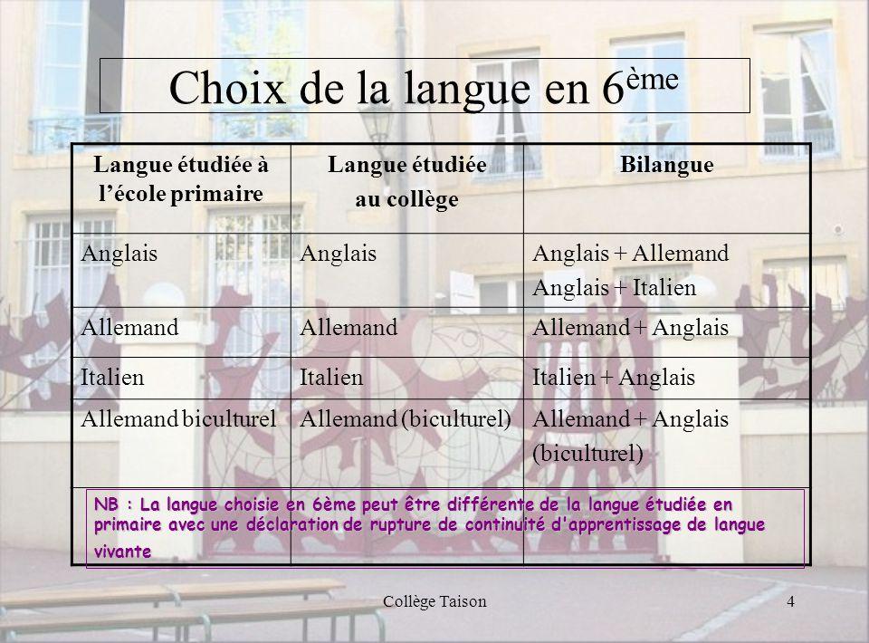 Choix de la langue en 6ème
