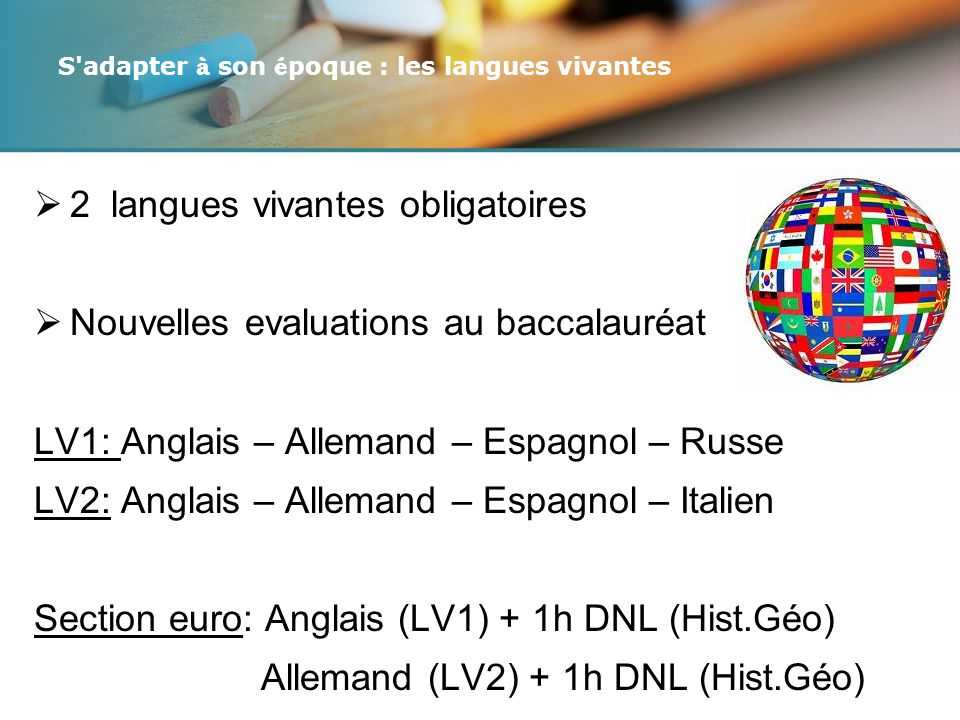 S adapter à son époque : les langues vivantes
