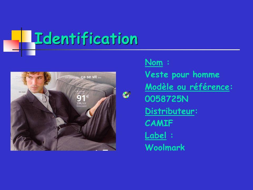 Identification Nom : Veste pour homme Modèle ou référence: 0058725N