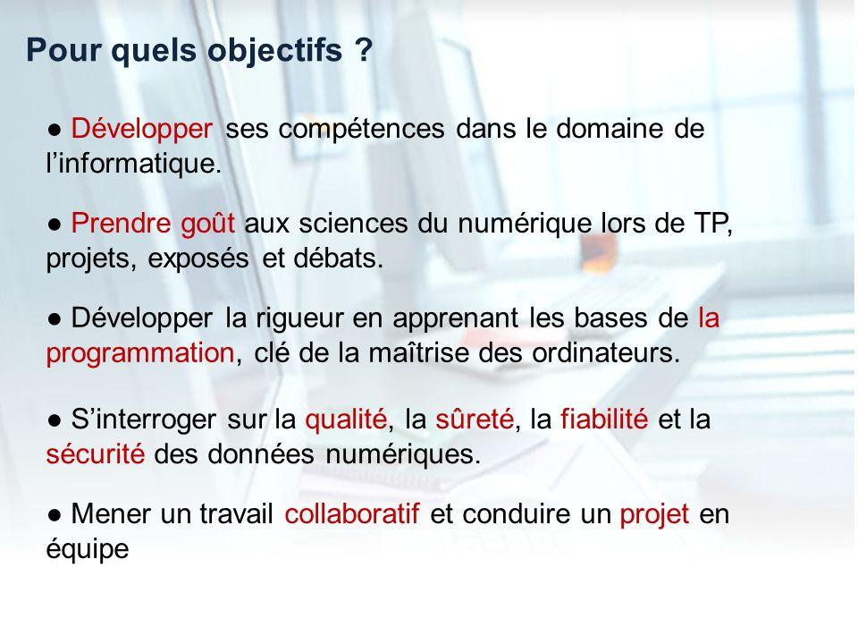 Pour quels objectifs ● Développer ses compétences dans le domaine de l'informatique.