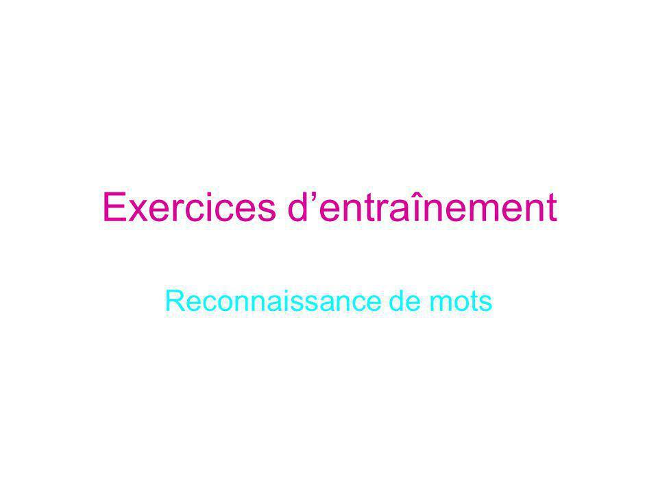Exercices d'entraînement