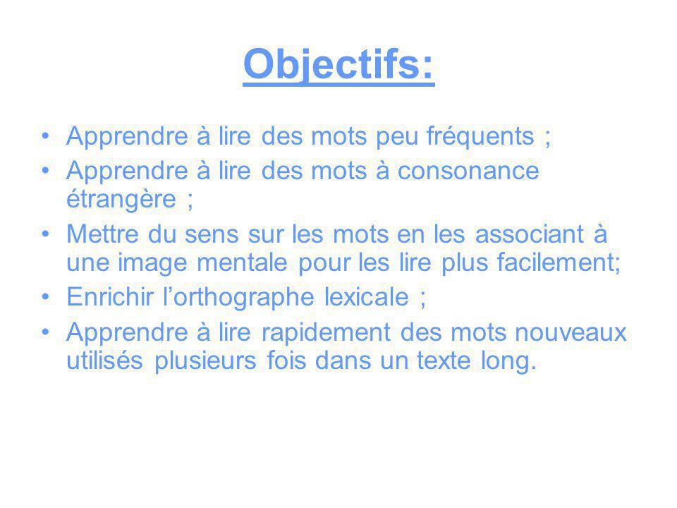 Objectifs: Apprendre à lire des mots peu fréquents ;