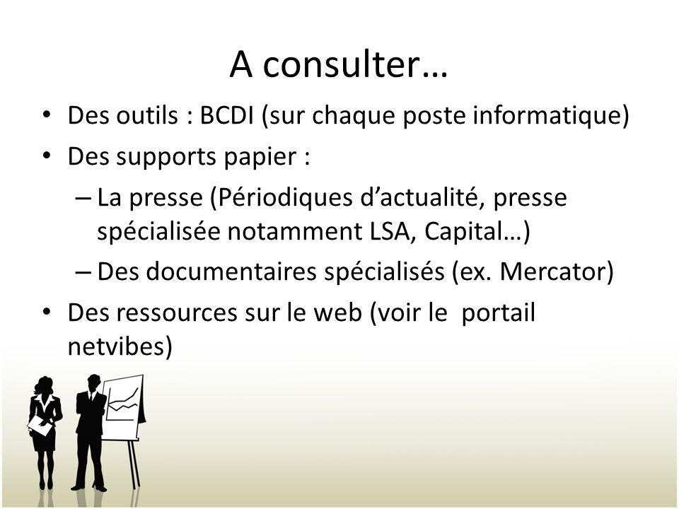 A consulter… Des outils : BCDI (sur chaque poste informatique)