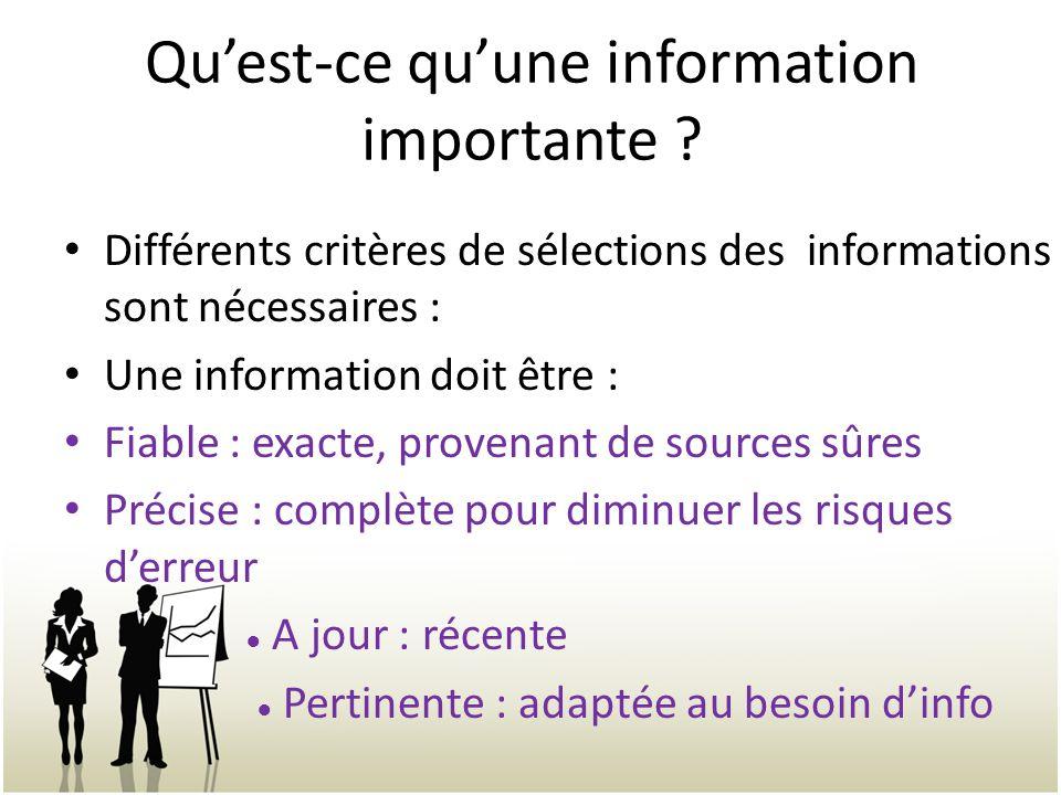 Qu'est-ce qu'une information importante