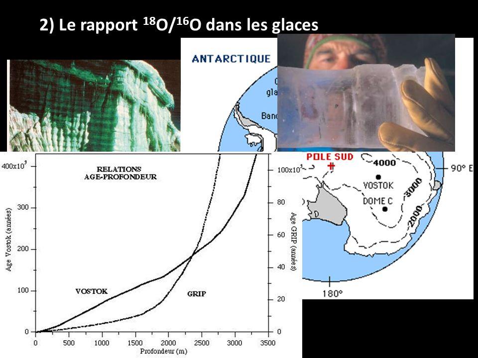 2) Le rapport 18O/16O dans les glaces