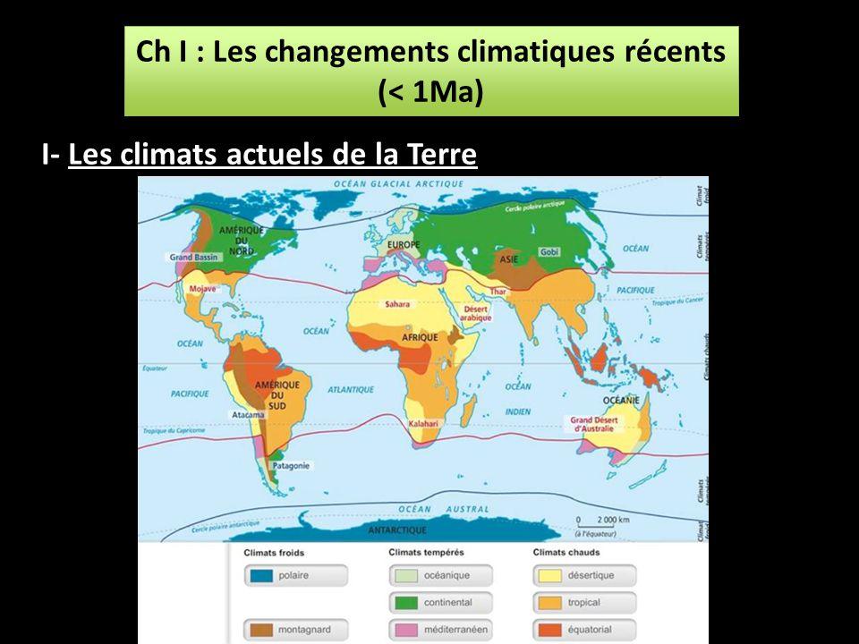 Ch I : Les changements climatiques récents