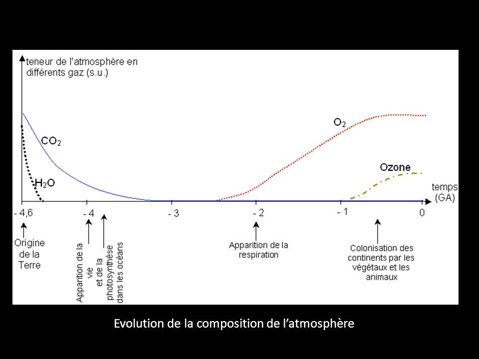 Evolution de la composition de l'atmosphère