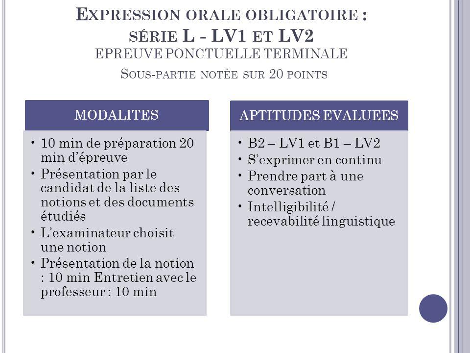 Expression orale obligatoire : série L - LV1 et LV2 EPREUVE PONCTUELLE TERMINALE Sous-partie notée sur 20 points