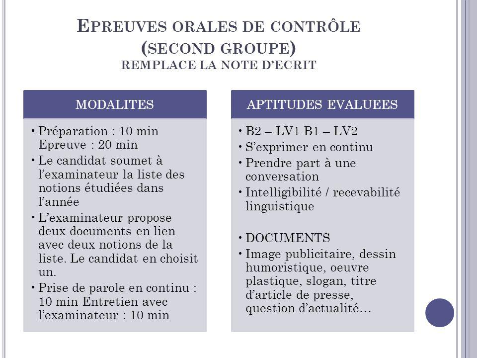 Epreuves orales de contrôle (second groupe) REMPLACE LA NOTE D'ECRIT