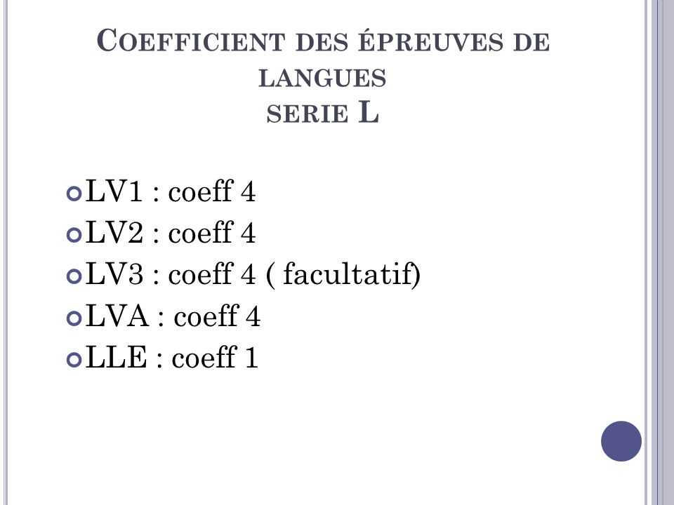 Coefficient des épreuves de langues serie L