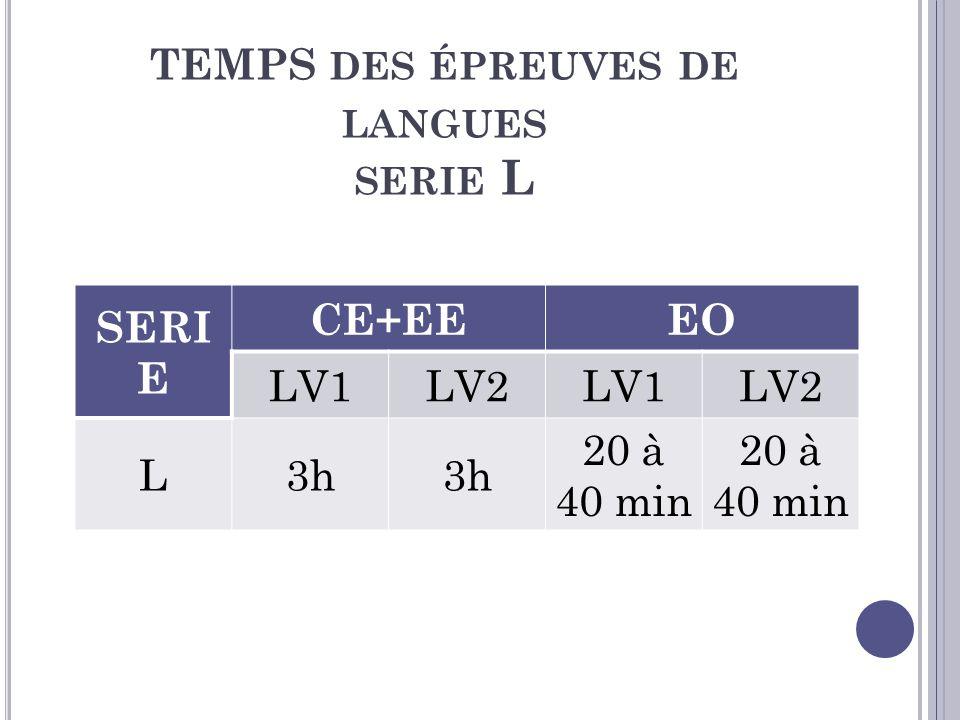 TEMPS des épreuves de langues serie L