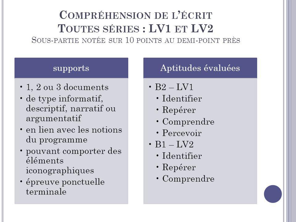 Compréhension de l'écrit Toutes séries : LV1 et LV2 Sous-partie notée sur 10 points au demi-point près