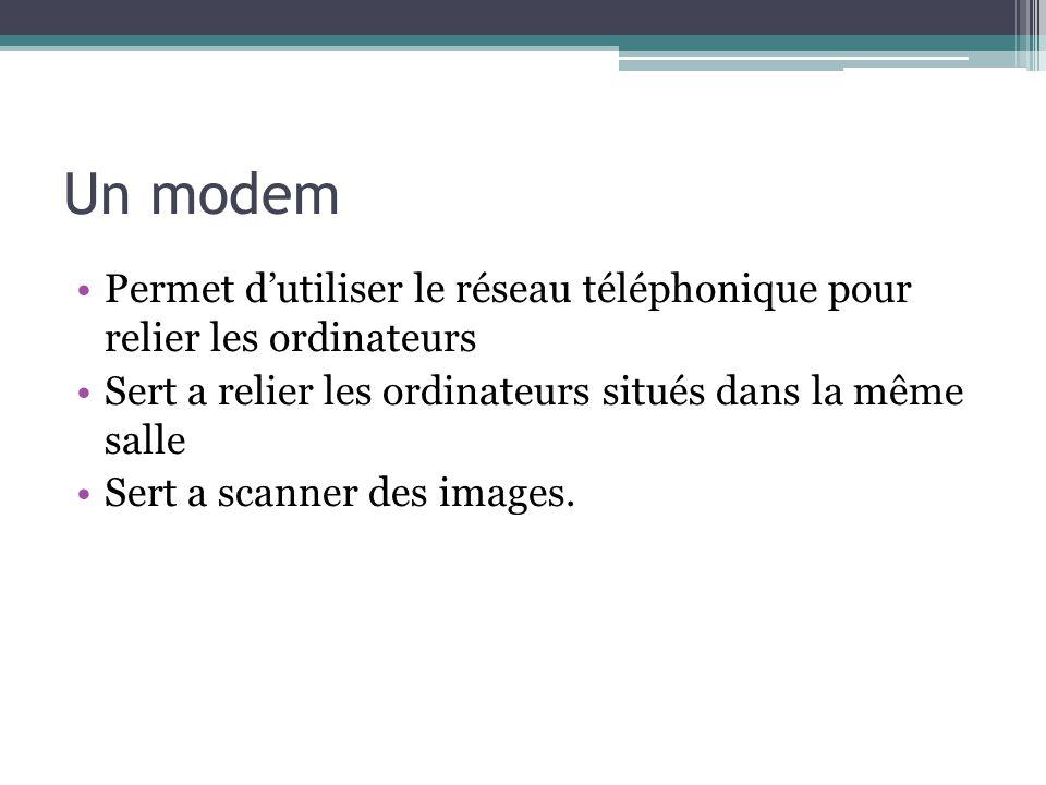 Un modem Permet d'utiliser le réseau téléphonique pour relier les ordinateurs. Sert a relier les ordinateurs situés dans la même salle.