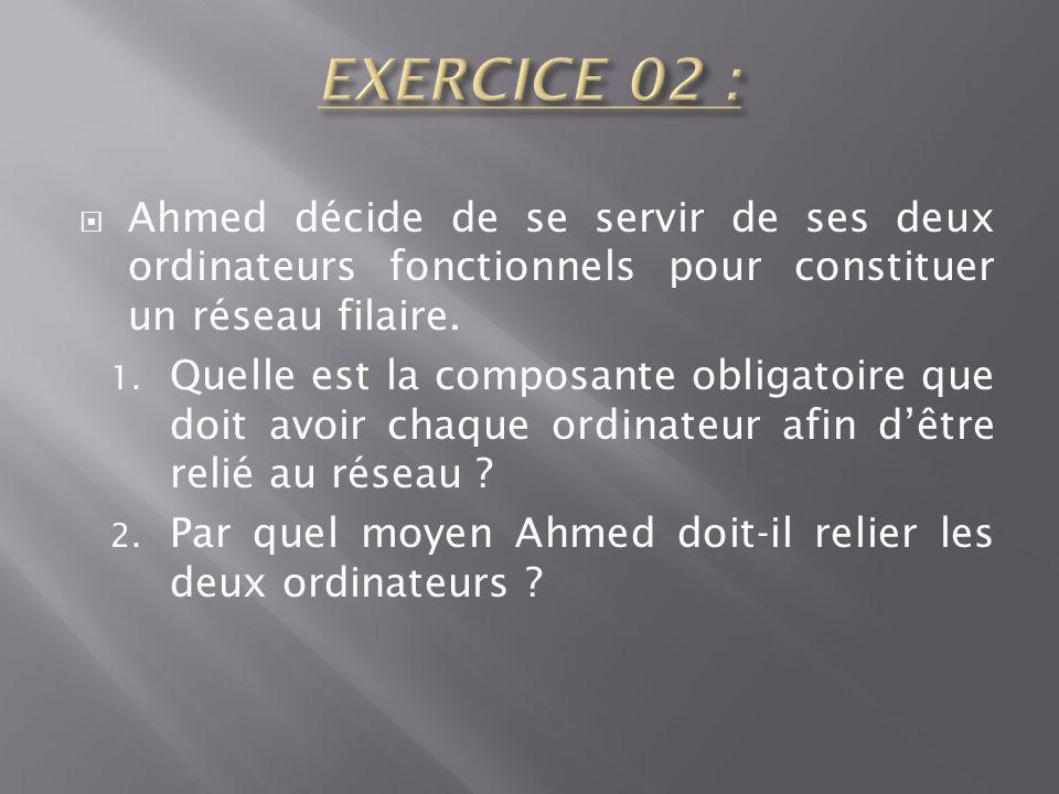 EXERCICE 02 : Ahmed décide de se servir de ses deux ordinateurs fonctionnels pour constituer un réseau filaire.