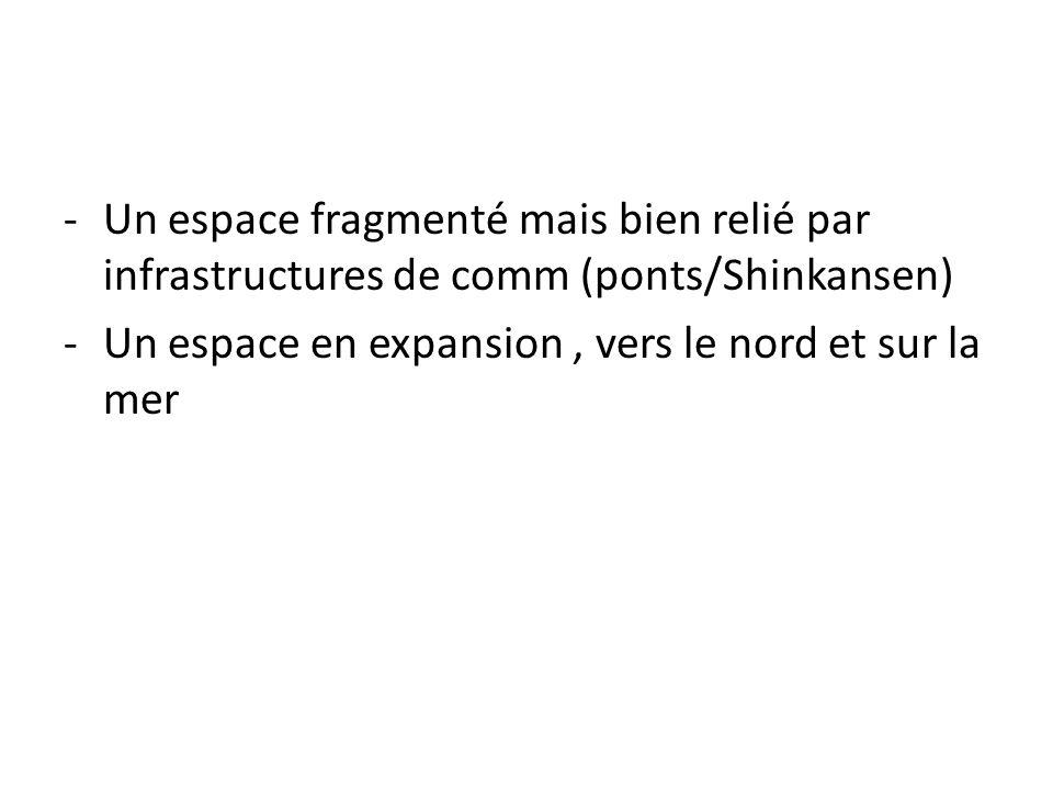 Un espace fragmenté mais bien relié par infrastructures de comm (ponts/Shinkansen)