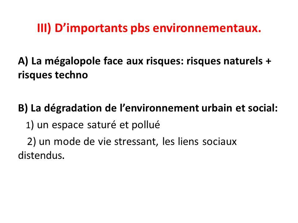 III) D'importants pbs environnementaux.