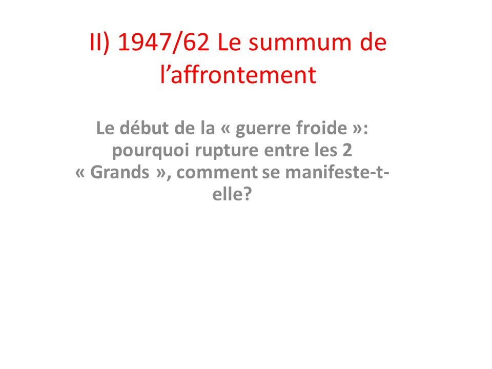 II) 1947/62 Le summum de l'affrontement