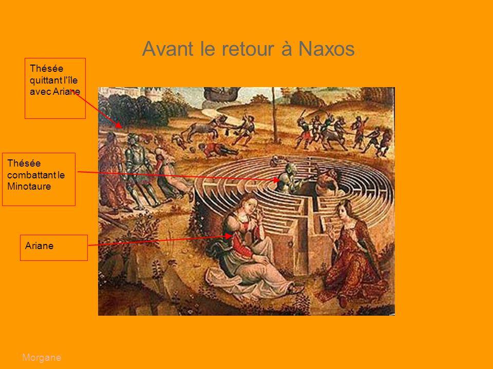 Avant le retour à Naxos Thésée quittant l île avec Ariane