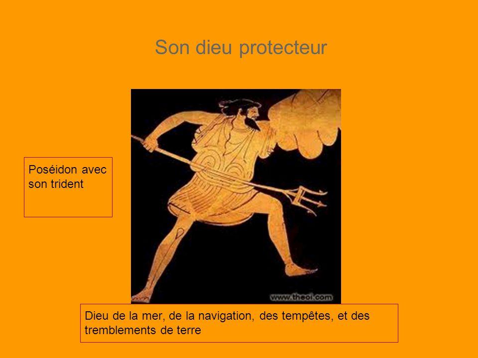 Son dieu protecteur Poséidon avec son trident