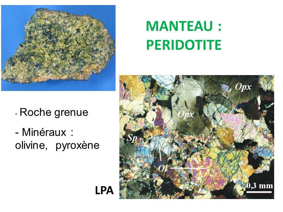 MANTEAU : PERIDOTITE Roche grenue Minéraux : olivine, pyroxène LPA