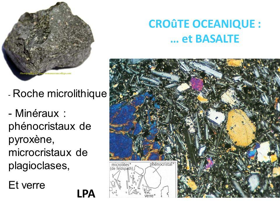 CROûTE OCEANIQUE : … et BASALTE