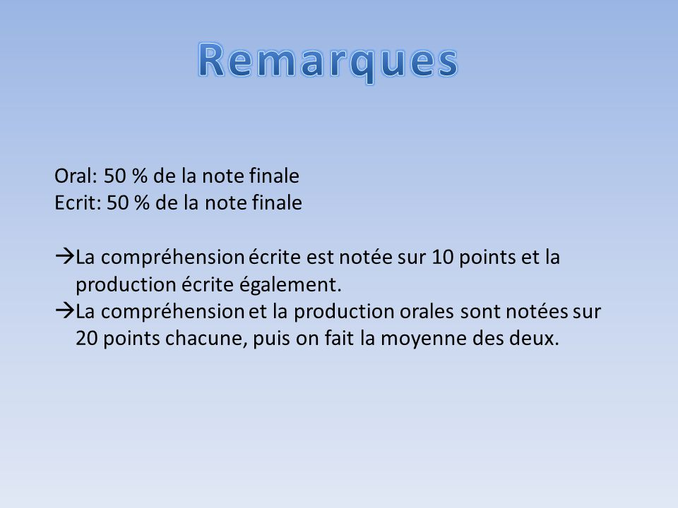 Remarques Oral: 50 % de la note finale Ecrit: 50 % de la note finale