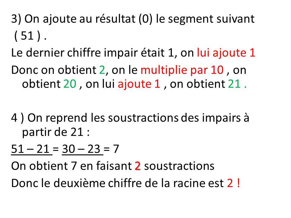 3) On ajoute au résultat (0) le segment suivant ( 51 )