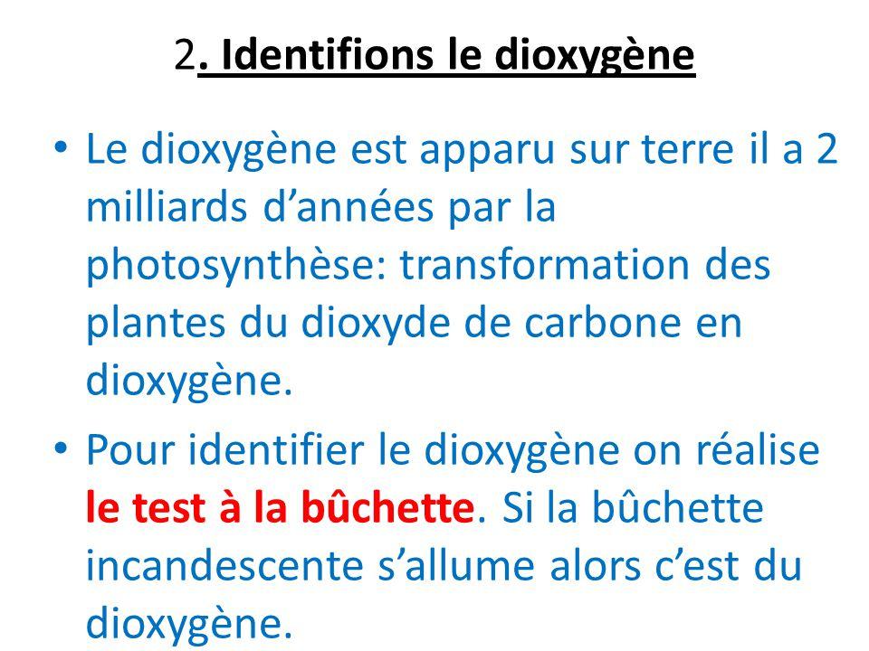 2. Identifions le dioxygène