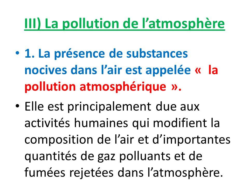 III) La pollution de l'atmosphère