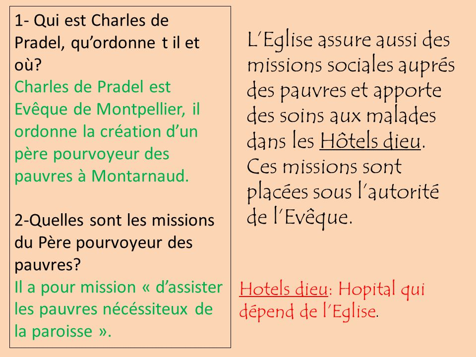 Ces missions sont placées sous l'autorité de l'Evêque.