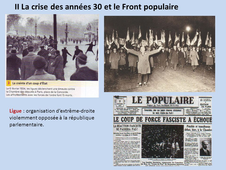 II La crise des années 30 et le Front populaire