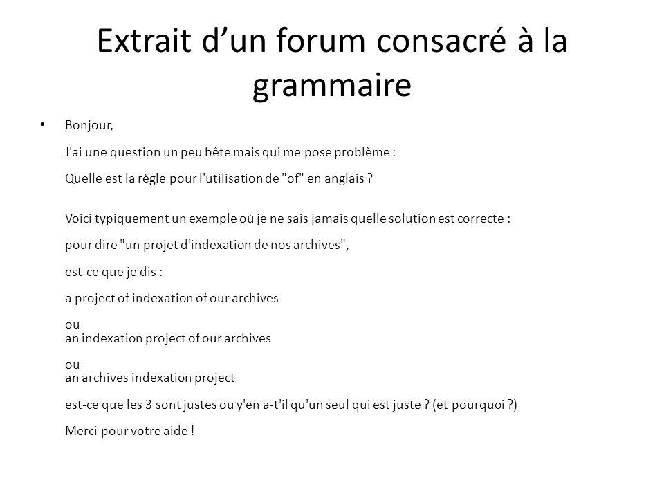 Extrait d'un forum consacré à la grammaire
